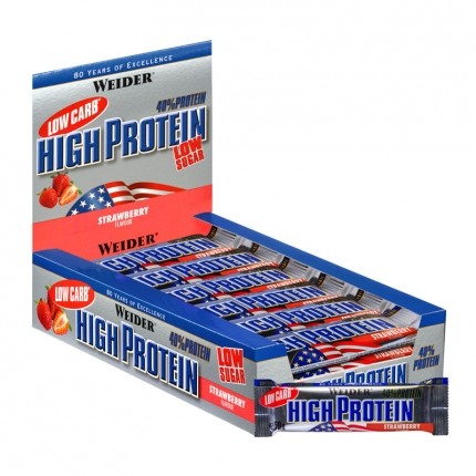 25 x Weider 40% High Protein Low Carb Jordbær bar