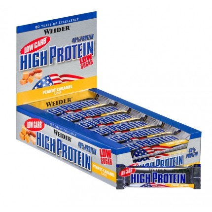 25 x Weider 40% High Protein Low Carb Pianøtt-Karamell  bar