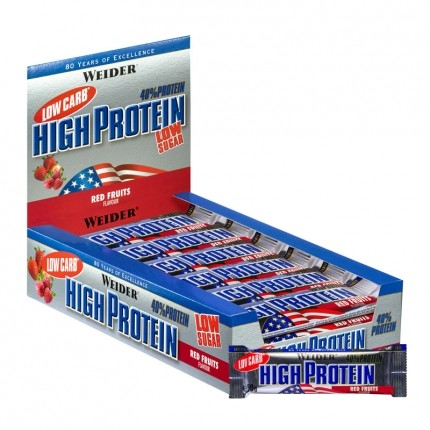 25 x Weider 40% High Protein Low Carb Røde Bær bar
