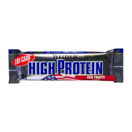 5 x Weider 40% High Protein Low Carb Røde Bær Bar
