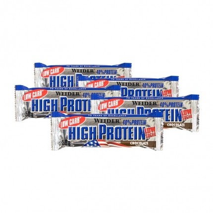 5 x Weider 40% High Protein Low Carb Schoko Riegel