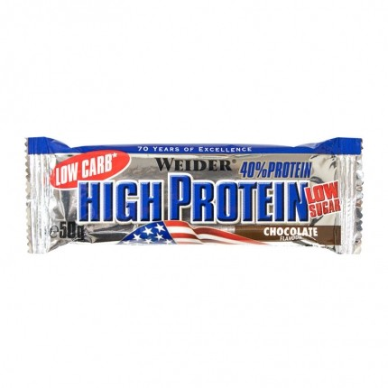 10 x Weider 40% High Protein Low Carb Schoko Riegel