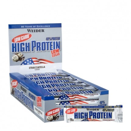 25 x Weider 40% High Protein Low Carb Stracciatella Riegel