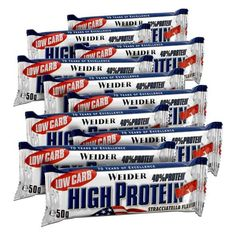 10 x Weider 40% High Protein Low Carb Stracciatella Riegel