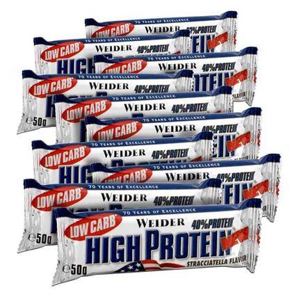10 x Weider 40% High Protein Low Carb Stracciatella Riegel