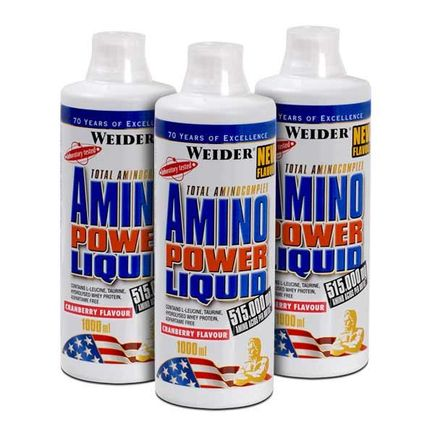 3 x Weider Amino Power Liquid Tranebær