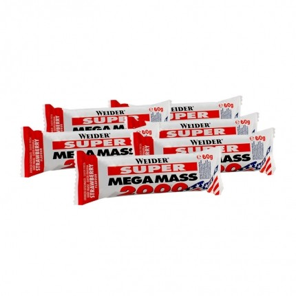 6 x Weider Mega Mass 2000 Erdbeere, Riegel