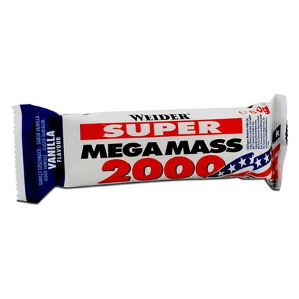 6 x Weider Mega Mass 2000 Vanilje, bar
