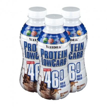 3 x Weider Muscle Low Carb Drink Schoko, Flasche
