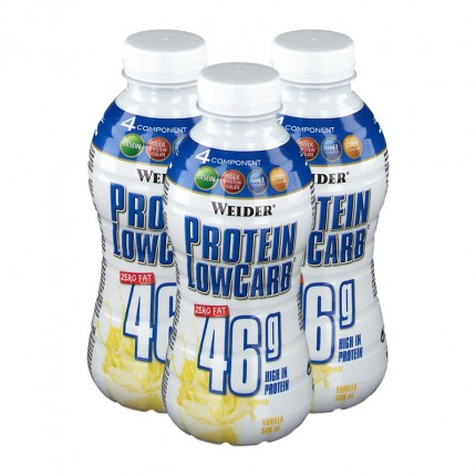 3 x Weider Muscle Low Carb Drink Vanille, Flasche