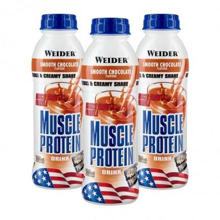 3 x Weider Muscle Protein Drink Schoko, Flasche