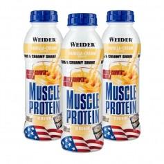3 x Weider Muscle Protein Drink Vanille, Flasche