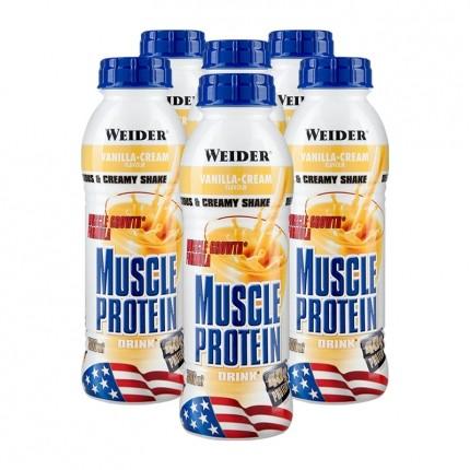 6 x Weider Muscle Protein Drink Vanille, Flasche