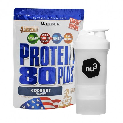 Weider Protein 80 Plus Kokos + nu3 SmartShake