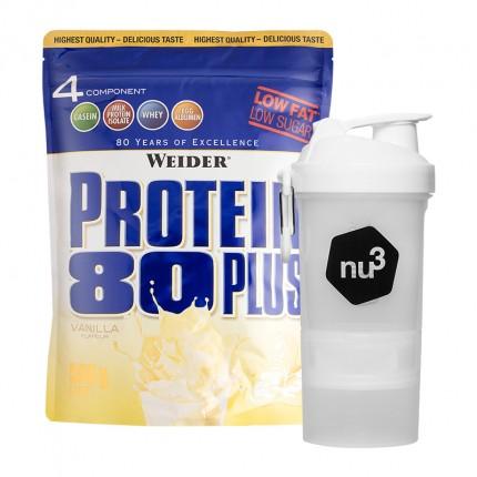 Weider Protein 80 Plus Vanille + nu3 SmartShake