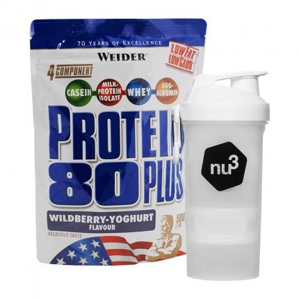 Weider Protein 80 Plus + nu3 SmartShake, Waldfrucht-Joghurt