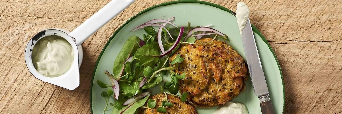 Quinoa-Patties mit Lachs und Süßkartoffeln