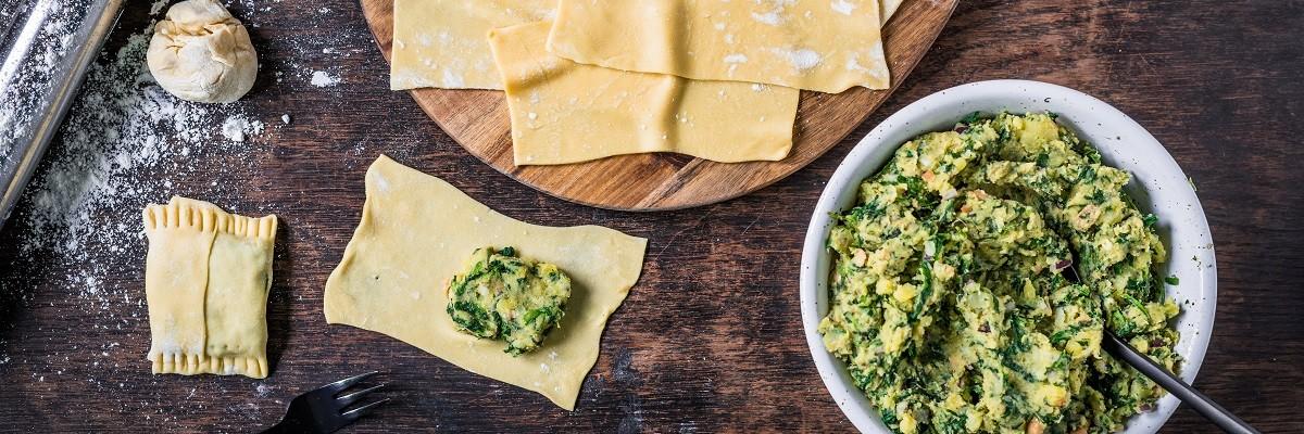 Vegetarische Maultaschen - Rezept mit Spinat