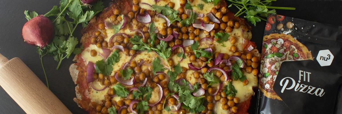 Pizza vegetariana con ceci