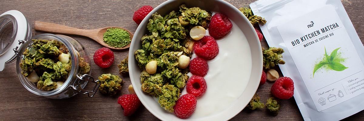 Granola matcha-cocco senza glutine