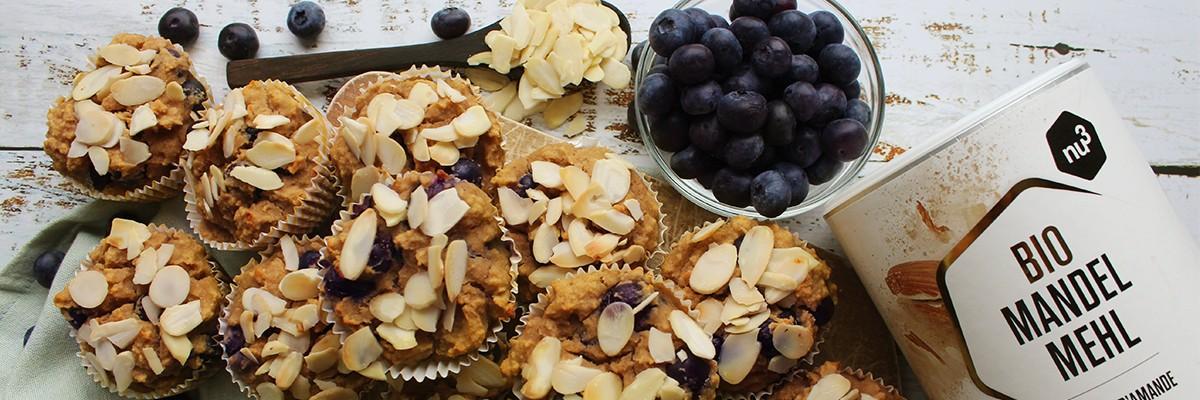 Muffins low carb et sans gluten aux myrtilles