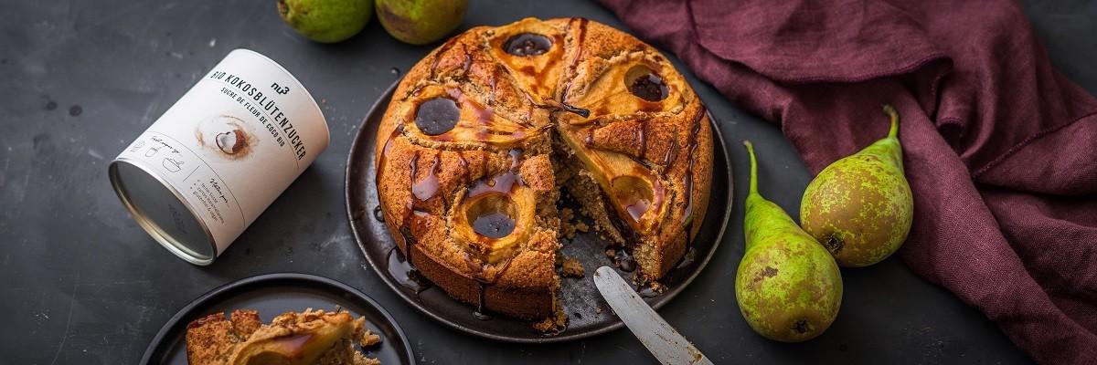 Gâteau vegan aux poires caramélisées