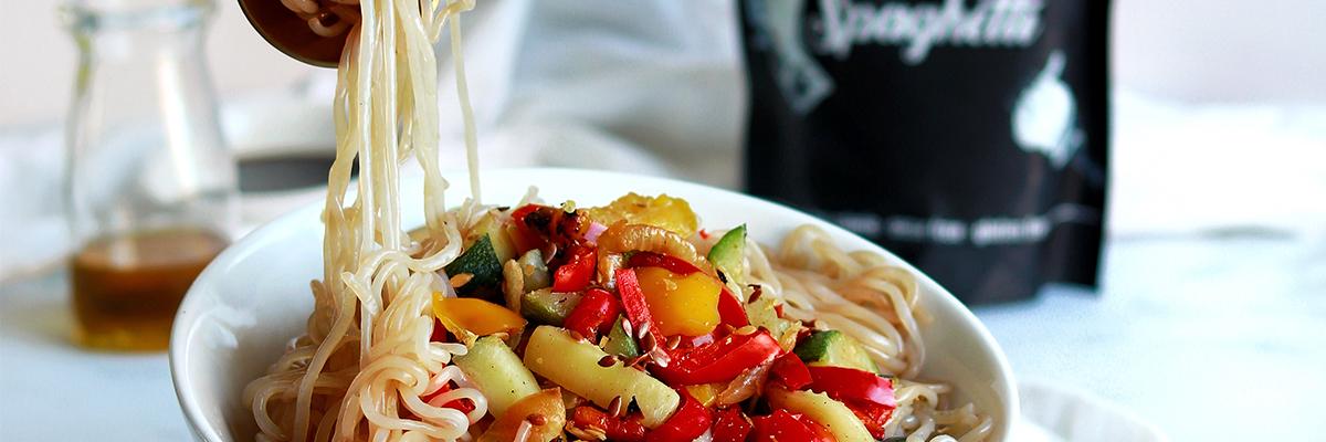 Kalorienarme Spaghetti-Gemüsepfanne